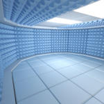 a 3D CGI render of a soundproof room
